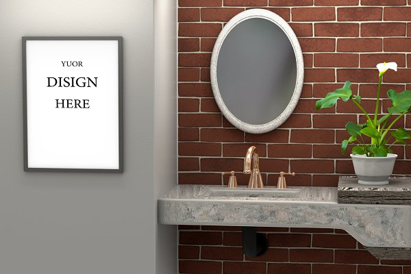 Mock up 3d interior of the bathroom