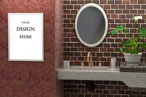 Mock up of the bathroom a brick wall