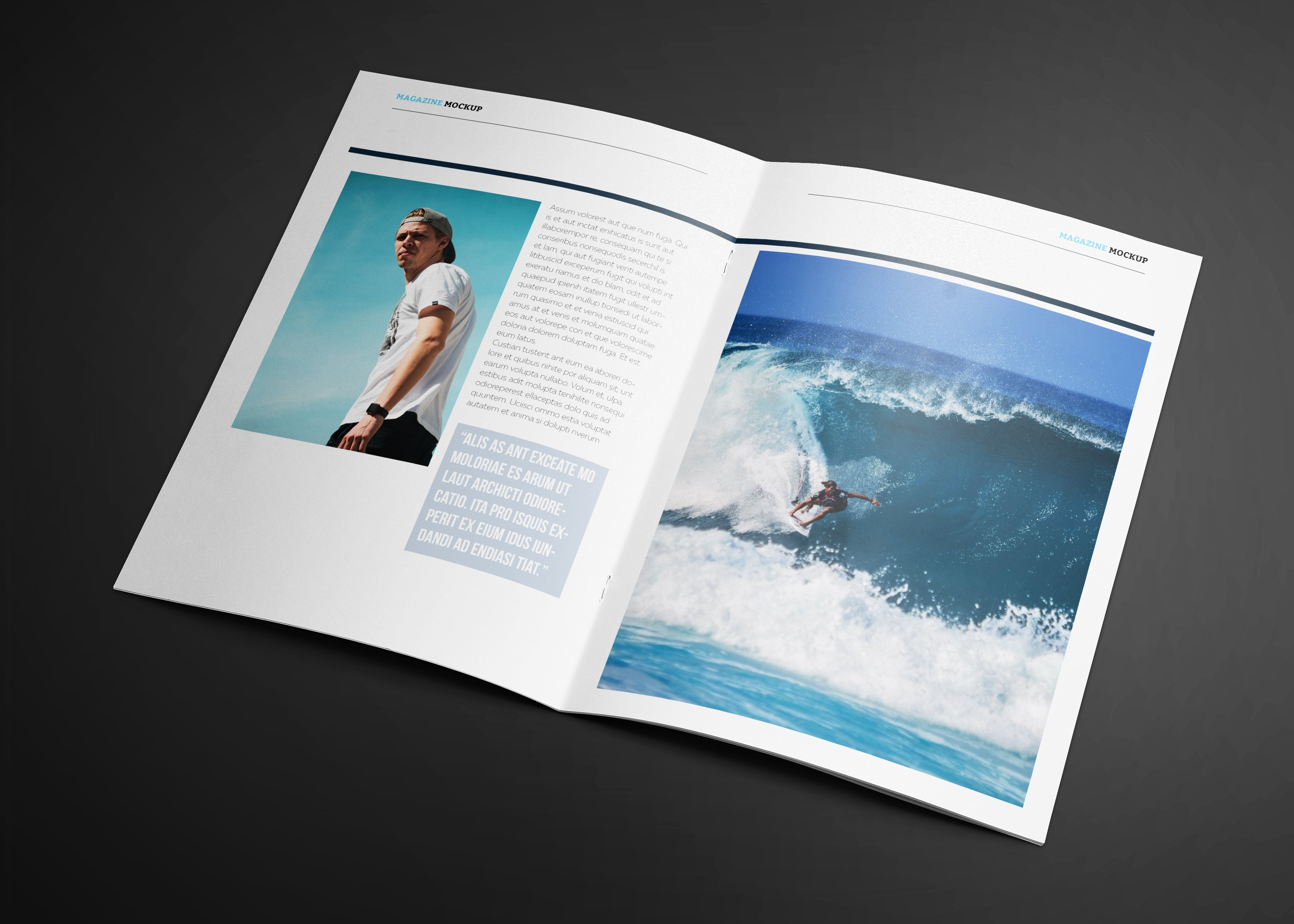 waves magazine template magazine templates creative market. Black Bedroom Furniture Sets. Home Design Ideas
