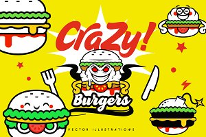 Crazy Burgers Vector Illustrations