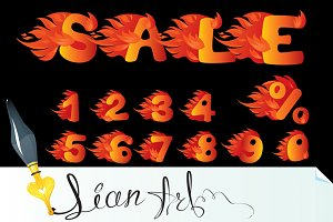 Flaming Numbers and word SALE.
