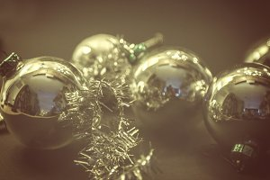 White glass christmas baubles