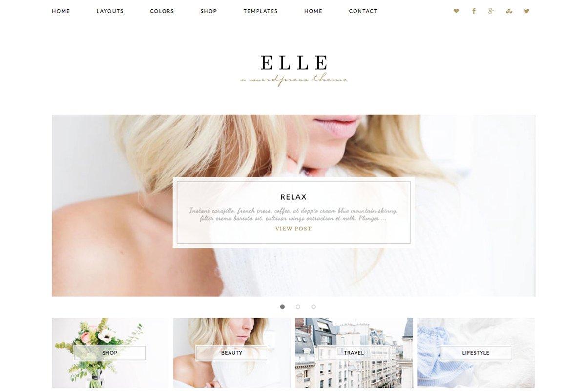 a29d0f2af6 Wordpress Theme Elle ~ WordPress Blog Themes ~ Creative Market