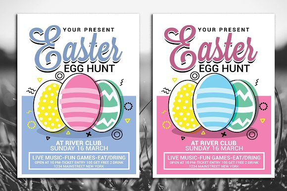 Easter Egg Hunt Flyer Templates Creative Market – Easter Invitations Template