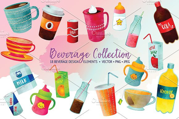 Beverage Watercolor Set