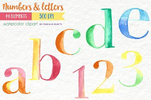 Watercolor Clip Art - Letters, No.s