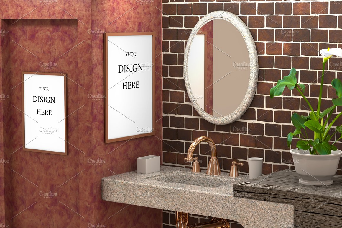 Mock up bathroom with concrete wall ~ Product Mockups ~ Creative Market