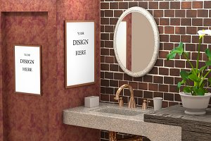 Mock up bathroom with concrete wall