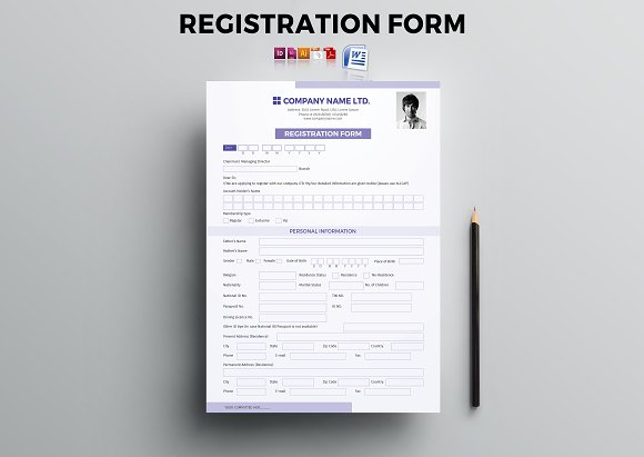 registration and questionnaire form stationery templates