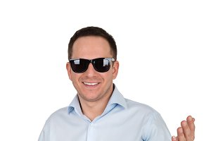 Man with a smile in sunglasses