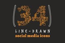 Line Drawn Social Media Icons