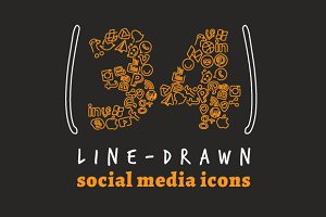 Line Drawn Social Media Icons