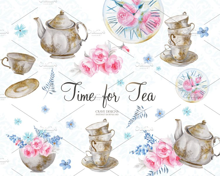 Time For Tea Clip Art Illustrations Creative Market