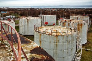 roofs of old oil storage tanks
