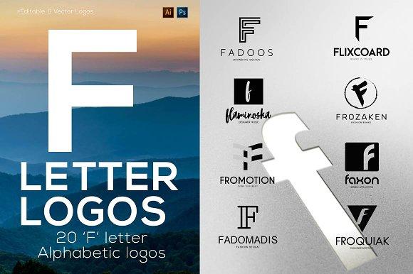 """20 """"F"""" Letter Alphabetic Logos"""