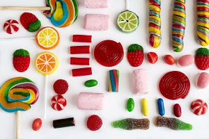 Colorful lollipops and candies