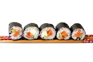Sushi with chopstick, isolated