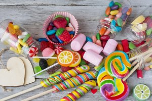Lollipops and sweet candies