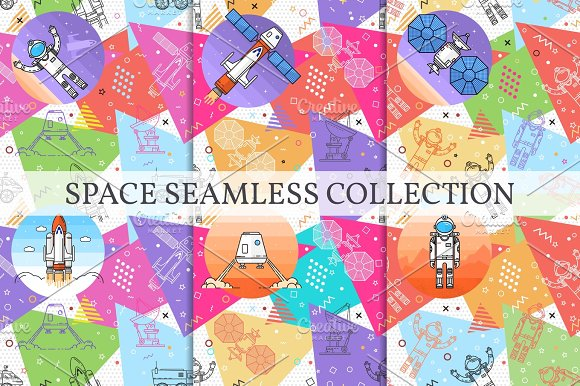 Set Of Space Memphis Seamless Patterns
