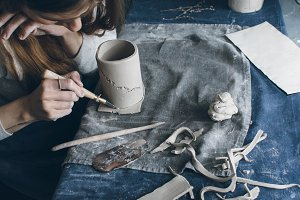 Ceramist at work
