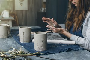 Woman working in ceramic studio
