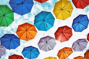 colorful umbrellas hanging