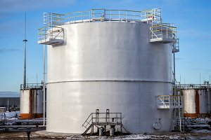 White big oil tank