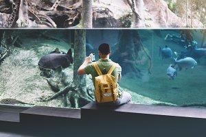 Person hiker in oceanarium