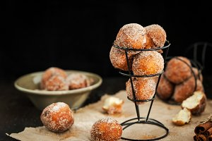 Homemade sour cream ball doughnuts