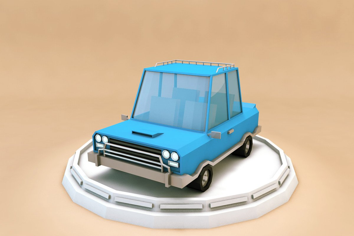 Cartoon Family Car Low Poly 3D Model ~ Vehicle Models