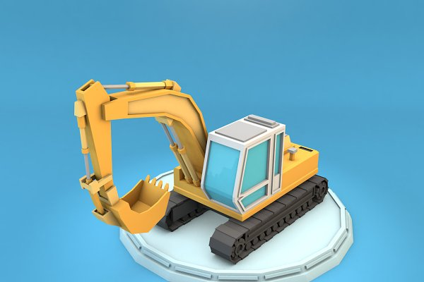 3D Vehicles: Low Poly Lab - Cartoon Excavator Low Poly