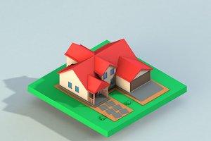 Cartoon House Low Poly 3D model