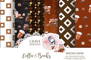 Coffee & Books Digital Paper