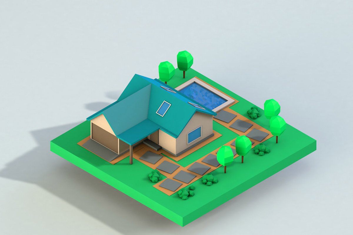 Cartoon House Low Poly 3D model ~ Architecture Models ~ Creative Market