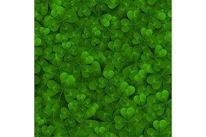 Seamless pattern with Four and Tree Leaf Clovers