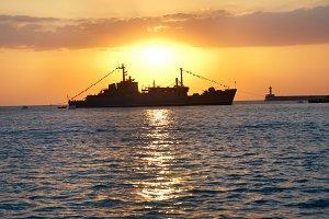 Military ship against