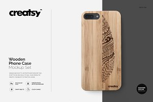 Wooden Case Mockup Set