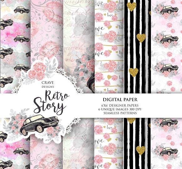 Retro Story Digital Paper