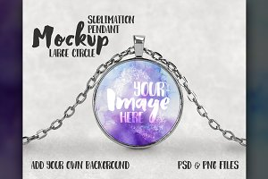 Round Sublimation Pendant Mockup