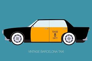 vintage barcelona taxi