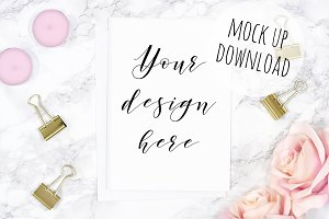 Pink and Gold Card Mockup Photograph