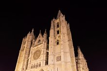 Leon cathedral at night, Spain.