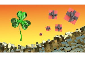 St. Patrick's Day 3d clover over abstract mountains landscape background of metal boxes and flying gift boxes. Decorative greeting postcard with copyspace for your text. 3d illustration