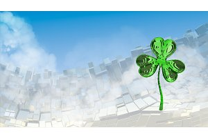 St. Patrick's Day 3d effect clover over abstract mountain landscape background of metal boxes. Decorative greeting postcard with copyspace for your text. 3d illustration