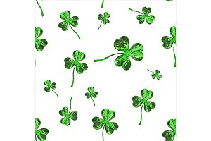 St. Patrick's Day 3d effect clover over space background. Decorative greeting grungy or postcard. Seamless texture. 3d illustration