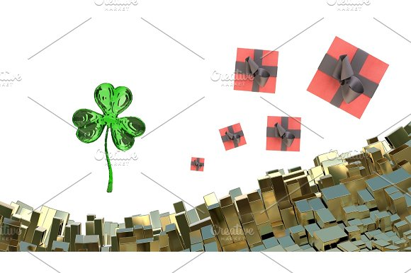 St Patrick's Day 3D Clover Over Abstract Mountains Landscape Background Of Metal Boxes And Flying Gift Boxes Decorative Greeting Postcard With Copyspace For Your Text 3D Illustration