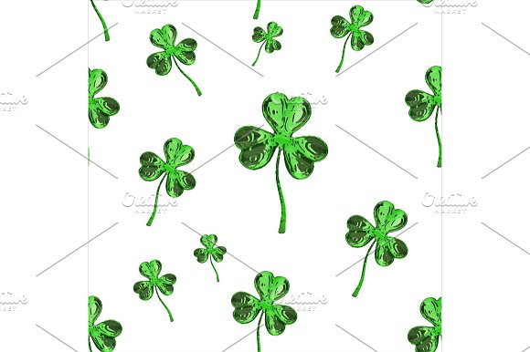 St Patrick's Day 3D Effect Clover Over Space Background Decorative Greeting Grungy Or Postcard Seamless Texture 3D Illustration
