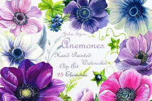 Watercolor Flowers ClipArt. Anemones
