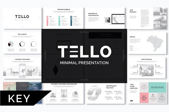 tello minimal keynote template presentation templates on creative market. Black Bedroom Furniture Sets. Home Design Ideas