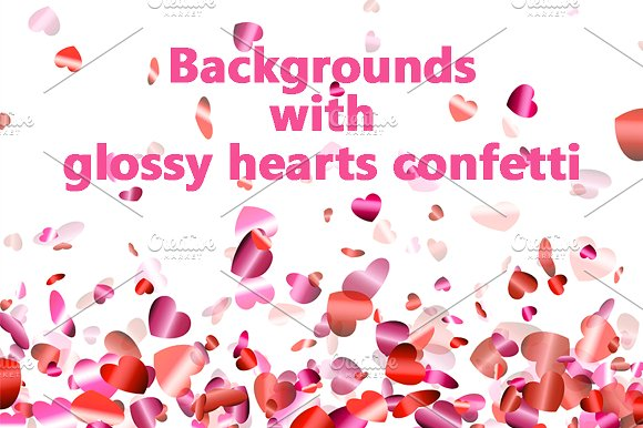 Two Backgrounds With Confetti Hearts